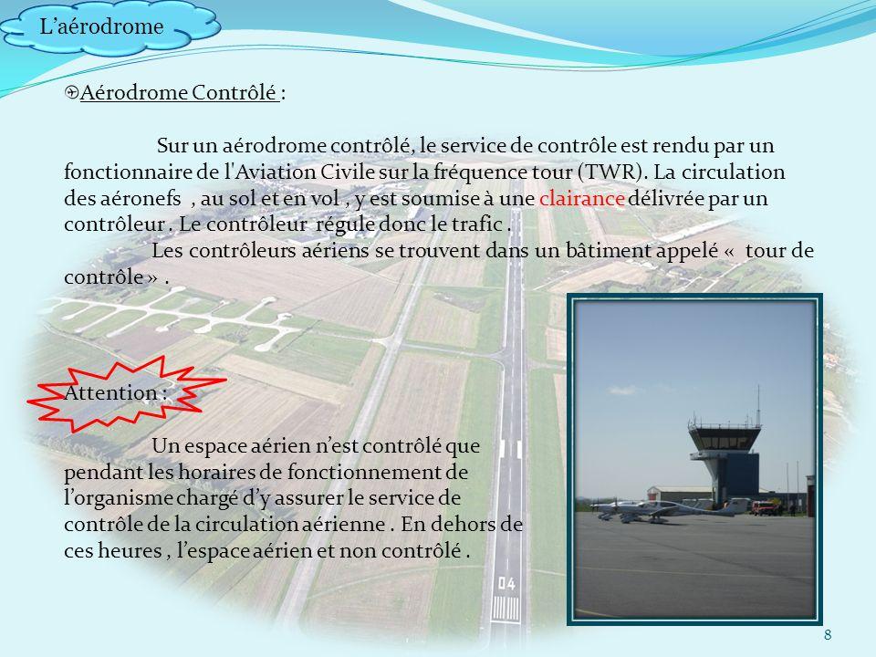 Laérodrome 8 Aérodrome Contrôlé : Sur un aérodrome contrôlé, le service de contrôle est rendu par un fonctionnaire de l Aviation Civile sur la fréquence tour (TWR).