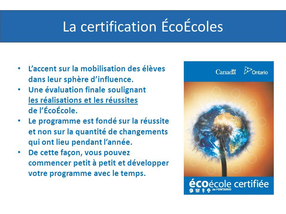 La certification ÉcoÉcoles Laccent sur la mobilisation des élèves dans leur sphère dinfluence.