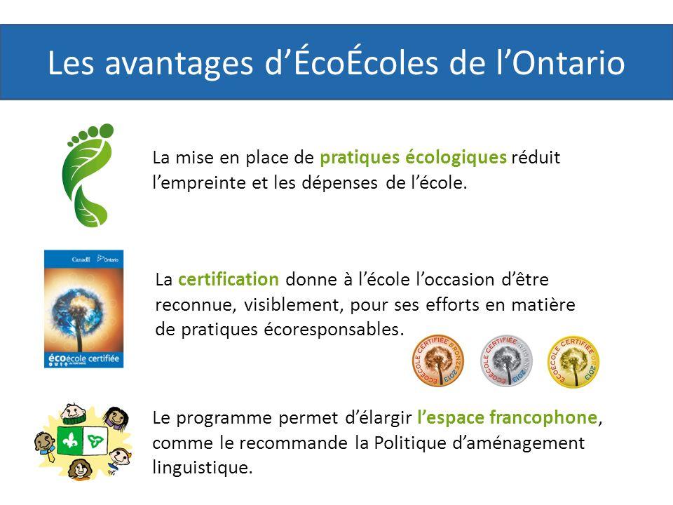 Les avantages dÉcoÉcoles de lOntario La certification donne à lécole loccasion dêtre reconnue, visiblement, pour ses efforts en matière de pratiques écoresponsables.