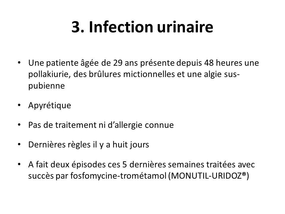 3. Infection urinaire Une patiente âgée de 29 ans présente depuis 48 heures une pollakiurie, des brûlures mictionnelles et une algie sus- pubienne Apy