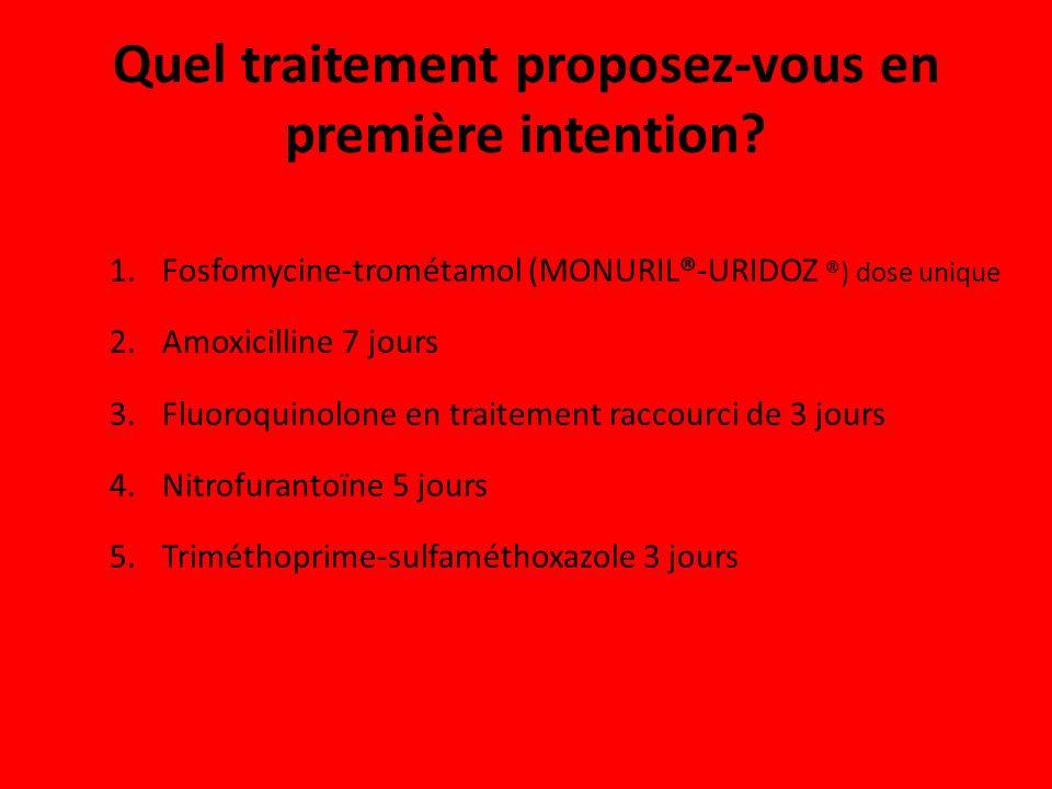 Quel traitement proposez-vous en première intention? 1.Fosfomycine-trométamol (MONURIL®-URIDOZ ®) dose unique 2.Amoxicilline 7 jours 3.Fluoroquinolone
