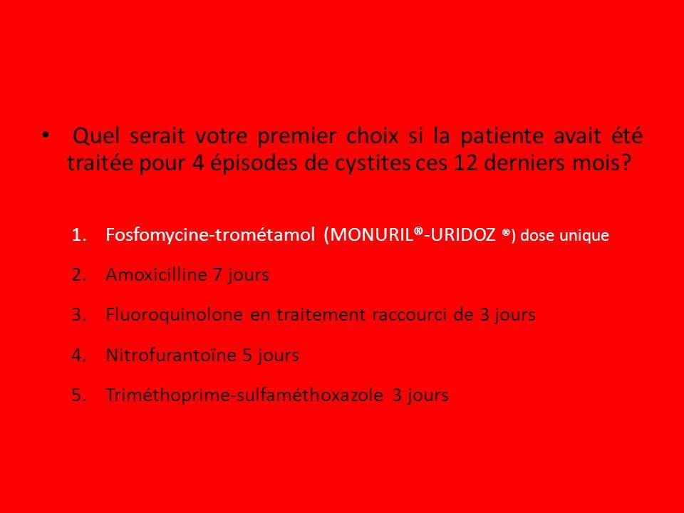 Quel serait votre premier choix si la patiente avait été traitée pour 4 épisodes de cystites ces 12 derniers mois? 1.Fosfomycine-trométamol (MONURIL®-