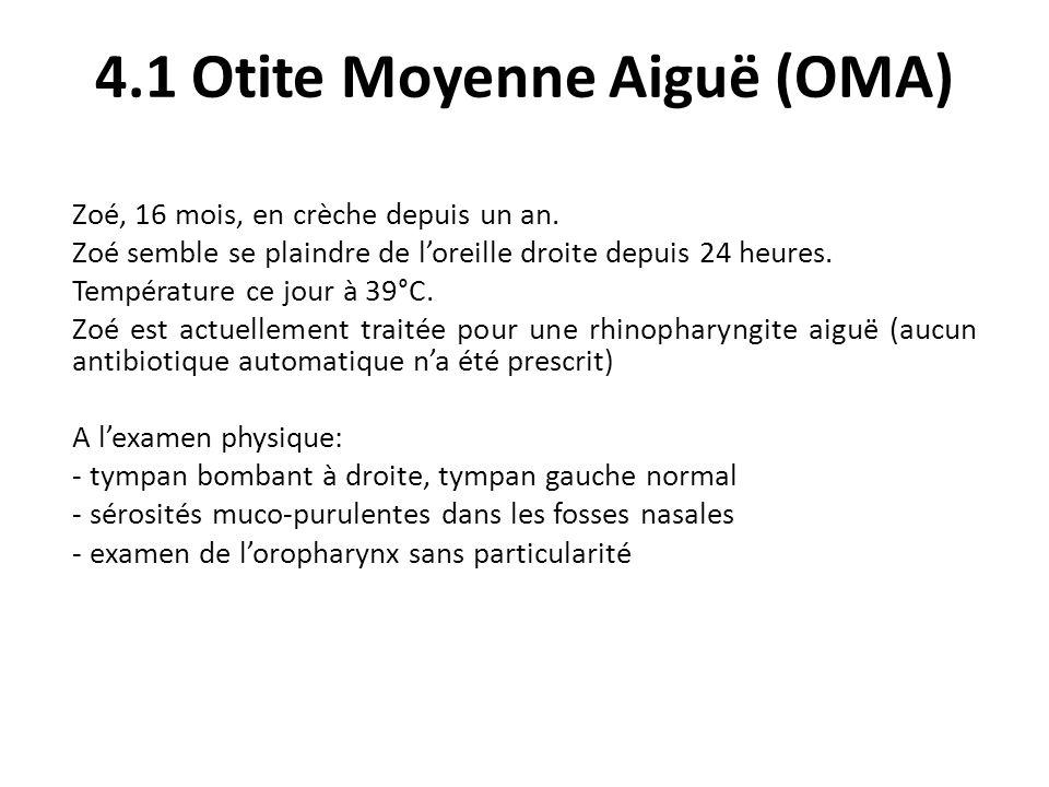 4.1 Otite Moyenne Aiguë (OMA) Zoé, 16 mois, en crèche depuis un an. Zoé semble se plaindre de loreille droite depuis 24 heures. Température ce jour à