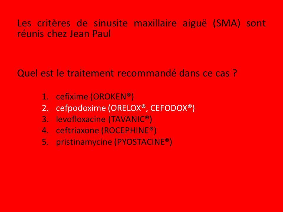 Les critères de sinusite maxillaire aiguë (SMA) sont réunis chez Jean Paul Quel est le traitement recommandé dans ce cas ? 1.cefixime (OROKEN®) 2.cefp