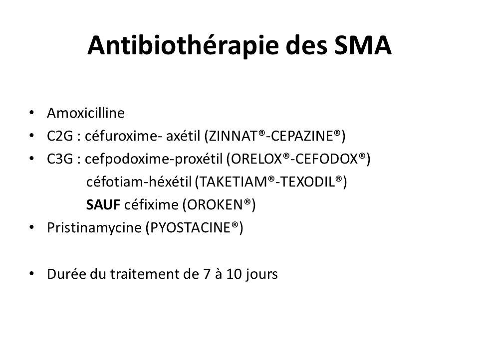 Antibiothérapie des SMA Amoxicilline C2G : céfuroxime- axétil (ZINNAT®-CEPAZINE®) C3G : cefpodoxime-proxétil (ORELOX®-CEFODOX®) céfotiam-héxétil (TAKE