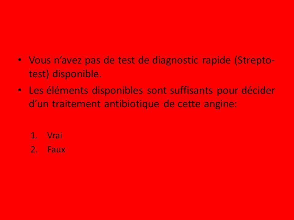 Vous navez pas de test de diagnostic rapide (Strepto- test) disponible. Les éléments disponibles sont suffisants pour décider dun traitement antibioti