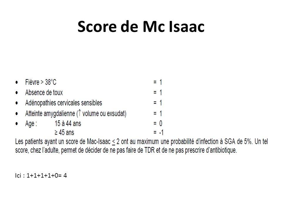 Score de Mc Isaac Ici : 1+1+1+1+0= 4
