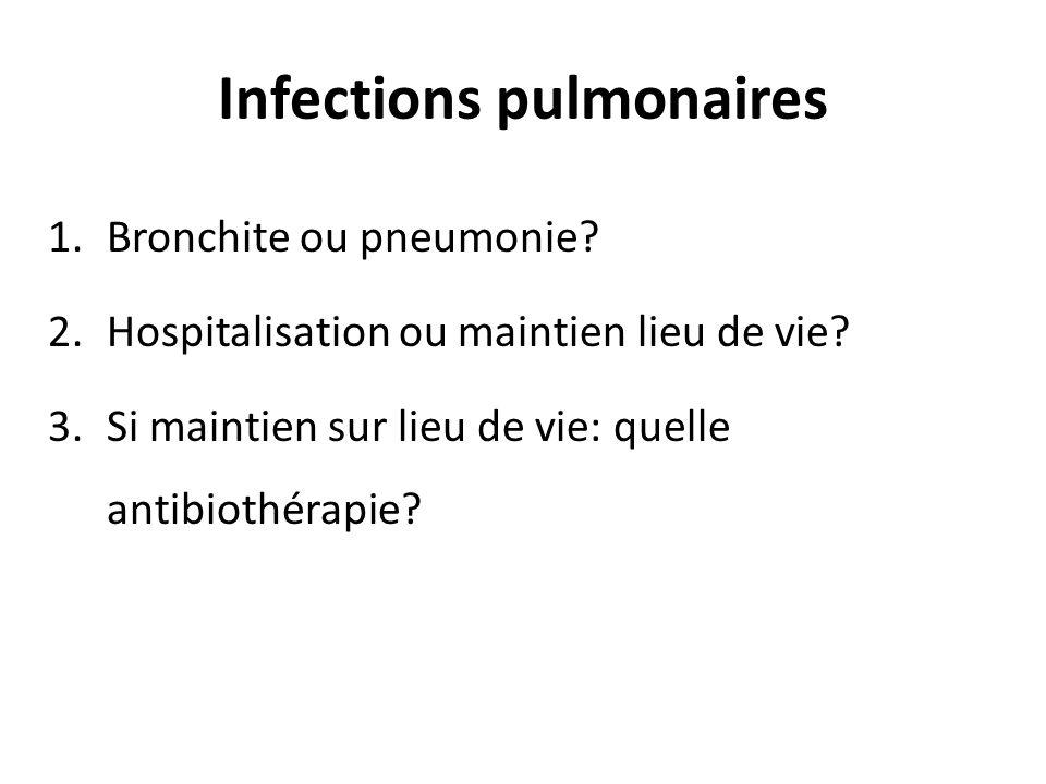 Infections pulmonaires 1.Bronchite ou pneumonie? 2.Hospitalisation ou maintien lieu de vie? 3.Si maintien sur lieu de vie: quelle antibiothérapie?