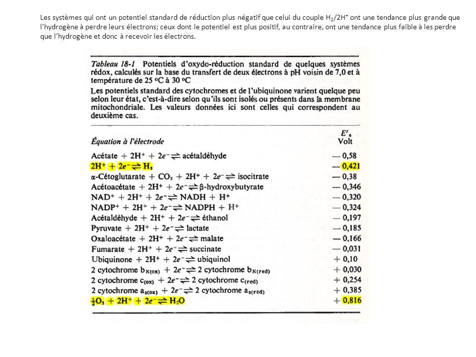 Les systèmes qui ont un potentiel standard de réduction plus négatif que celui du couple H 2 /2H + ont une tendance plus grande que lhydrogène à perdr