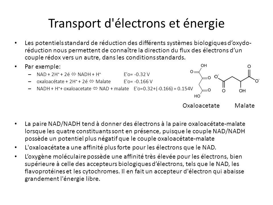Transport d'électrons et énergie Les potentiels standard de réduction des différents systèmes biologiques doxydo- réduction nous permettent de connaît