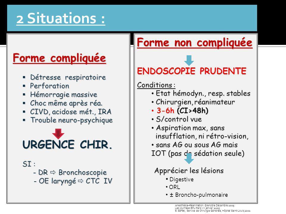 2 Situations : Forme compliquée Détresse respiratoire Détresse respiratoire Perforation Perforation Hémorragie massive Hémorragie massive Choc même ap