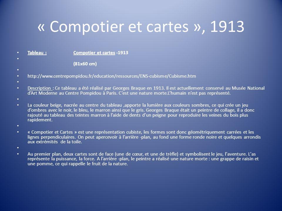 « Compotier et cartes », 1913 Tableau :Compotier et cartes -1913 (81x60 cm) http://www.centrepompidou.fr/education/ressources/ENS-cubisme/Cubisme.htm