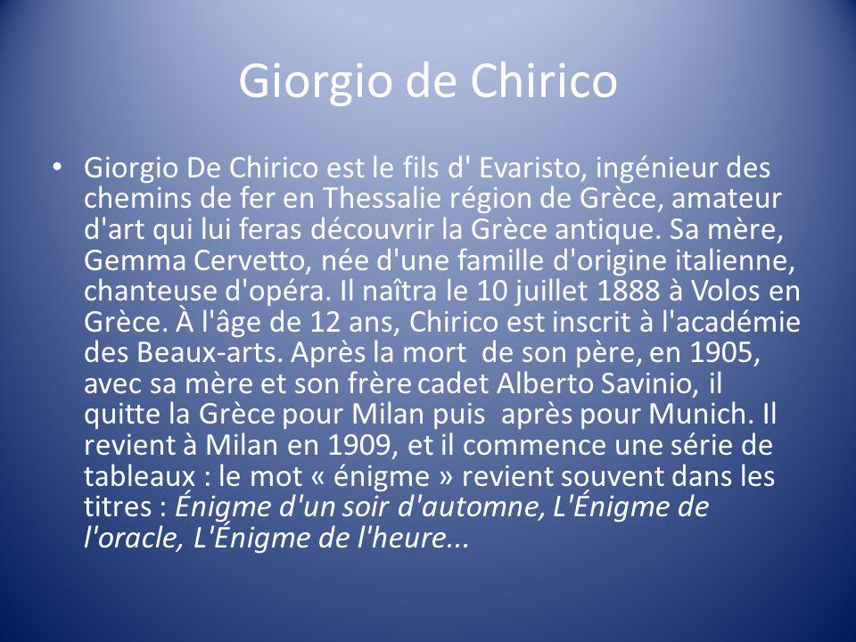 Giorgio de Chirico Giorgio De Chirico est le fils d' Evaristo, ingénieur des chemins de fer en Thessalie région de Grèce, amateur d'art qui lui feras