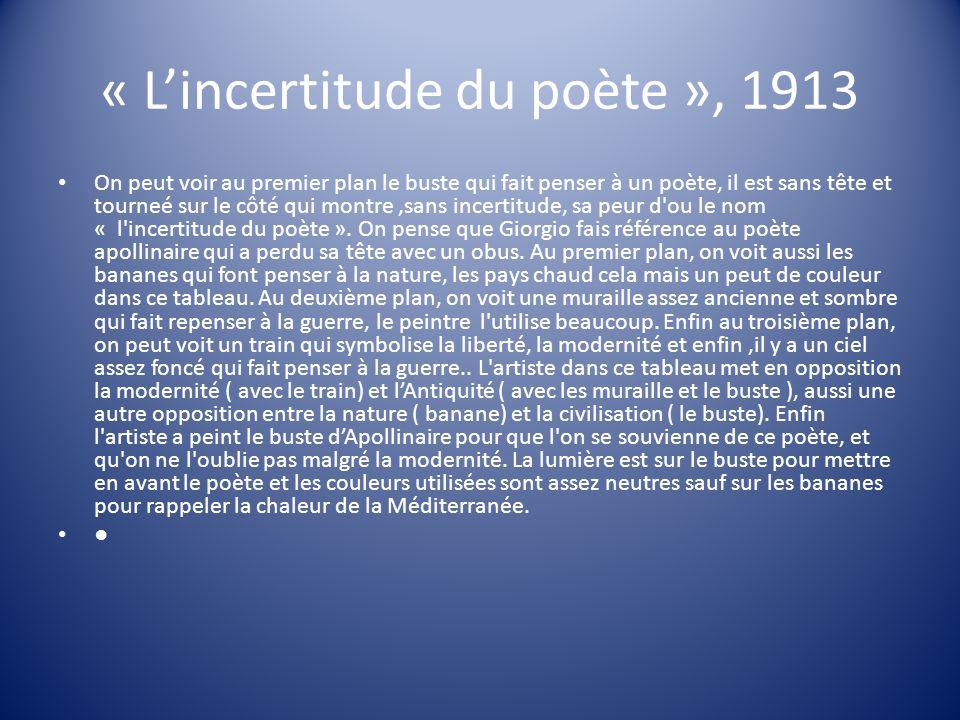 « Lincertitude du poète », 1913 On peut voir au premier plan le buste qui fait penser à un poète, il est sans tête et tourneé sur le côté qui montre,s