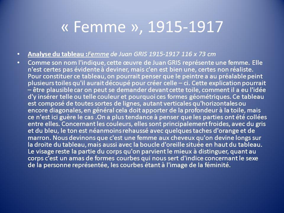 « Femme », 1915-1917 Analyse du tableau :Femme de Juan GRIS 1915-1917 116 x 73 cm Comme son nom l'indique, cette œuvre de Juan GRIS représente une fem