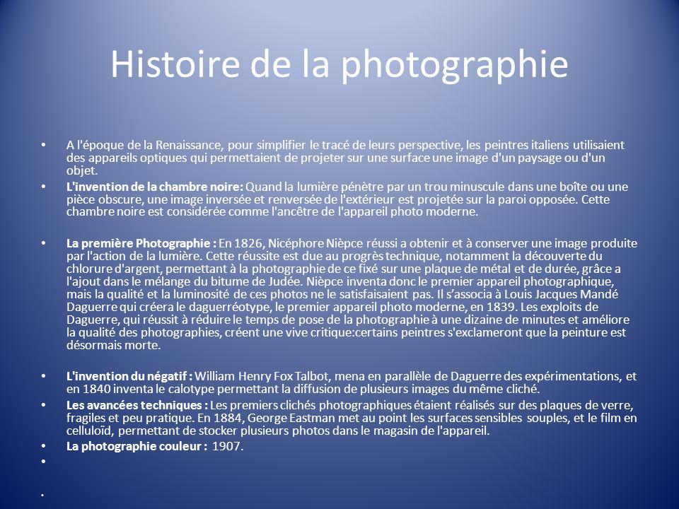 Histoire de la photographie A l'époque de la Renaissance, pour simplifier le tracé de leurs perspective, les peintres italiens utilisaient des apparei