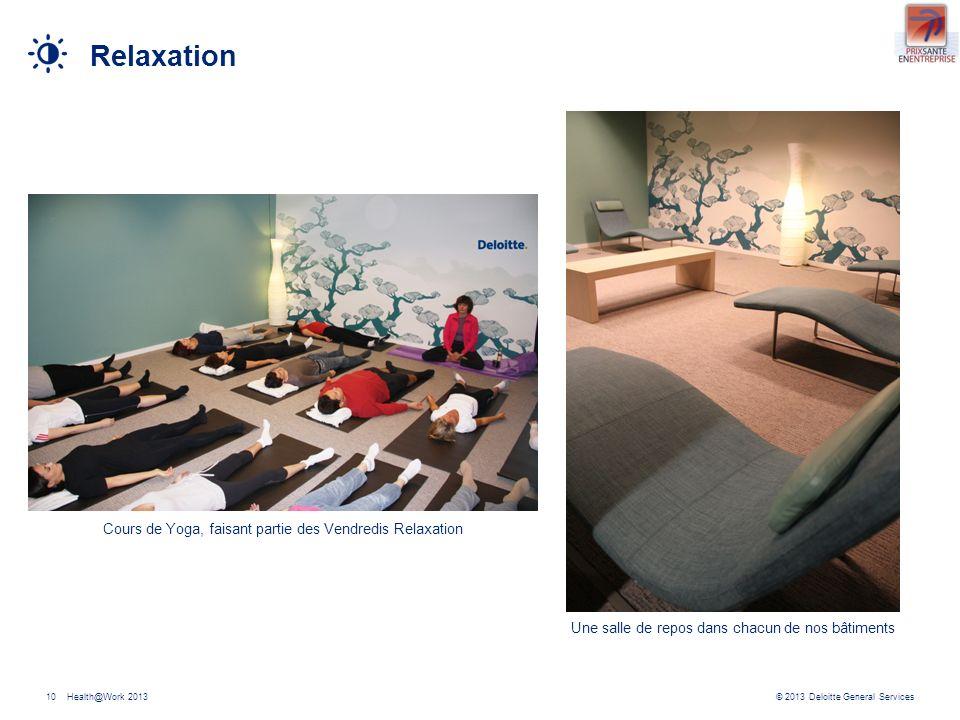 © 2013 Deloitte General ServicesHealth@Work 201310 Relaxation Cours de Yoga, faisant partie des Vendredis Relaxation Une salle de repos dans chacun de nos bâtiments