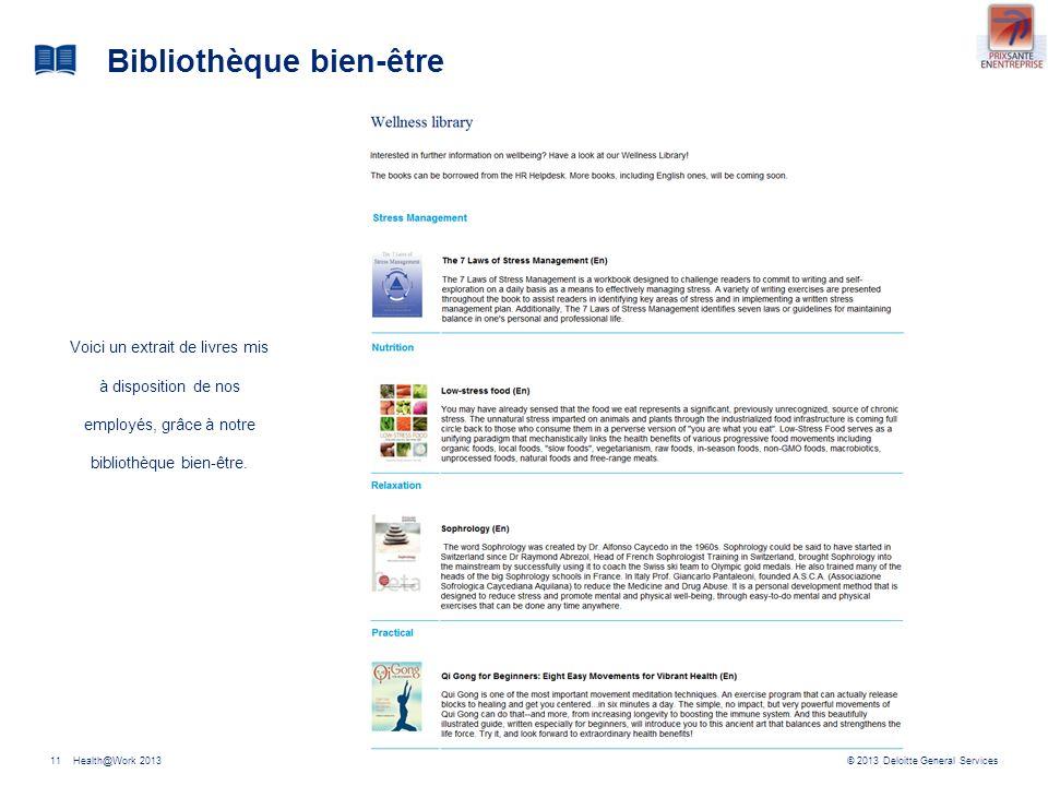 © 2013 Deloitte General ServicesHealth@Work 201311 Bibliothèque bien-être Voici un extrait de livres mis à disposition de nos employés, grâce à notre bibliothèque bien-être.