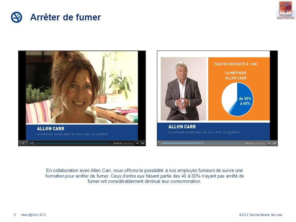 © 2013 Deloitte General ServicesHealth@Work 20137 Bilan de santé Il est recommandé de faire des bilans de santé de façon plus régulière à partir de 50 ans.