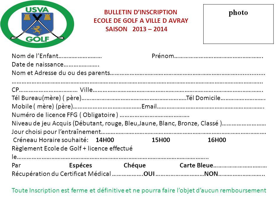 BULLETIN DINSCRIPTION ECOLE DE GOLF A VILLE D AVRAY SAISON 2013 – 2014 Nom de lEnfant………………………Prénom………………………………………………. Date de naissance…………………. Nom
