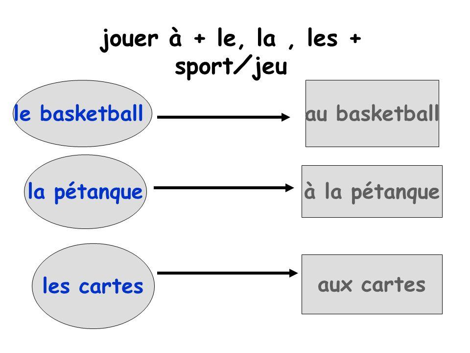 le basketballau basketball la pétanque à la pétanque jouer à + le, la, les + sportjeu les cartes aux cartes