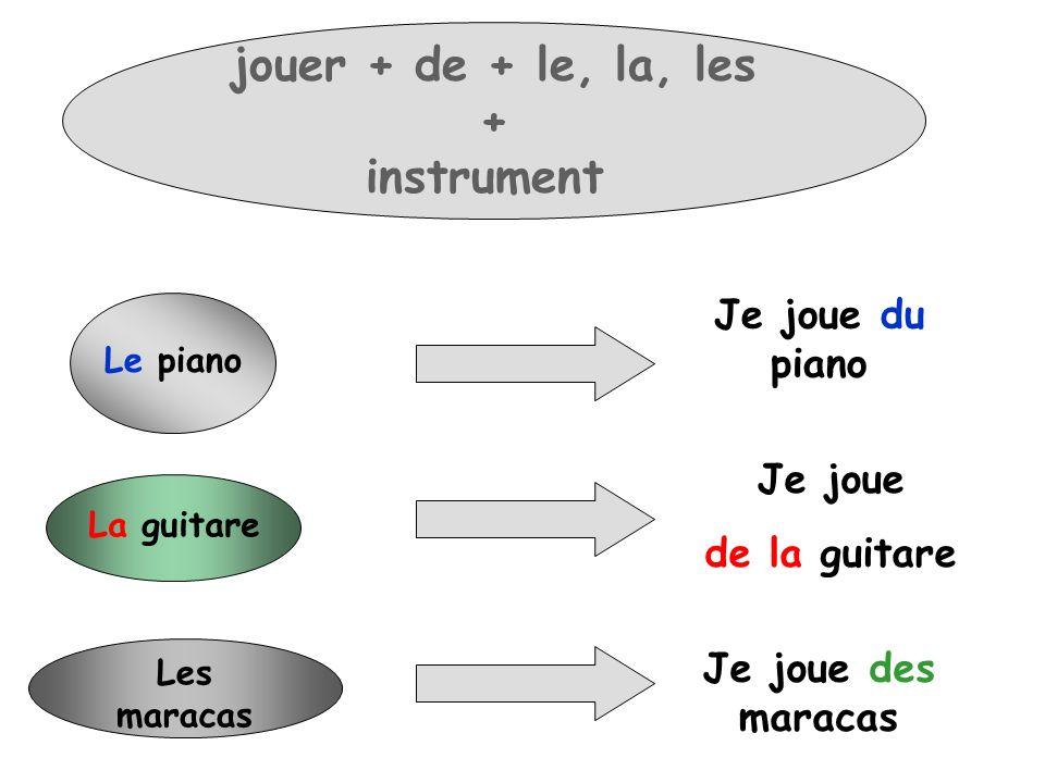 Le piano Je joue du piano La guitare Je joue de la guitare Les maracas Je joue des maracas jouer + de + le, la, les + instrument