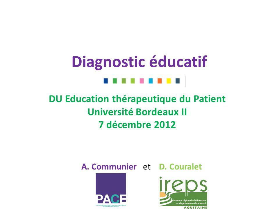 Diagnostic éducatif DU Education thérapeutique du Patient Université Bordeaux II 7 décembre 2012 A.