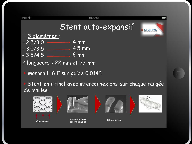 Stent auto-expansif Stent en nitinol avec interconnexions sur chaque rangée de mailles. 3 diamètres : - 2.5/3.0 - 3.0/3.5 - 3.5/4.5 2 longueurs : 22 m