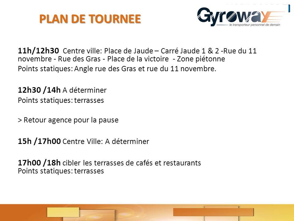 11h/12h30 Centre ville: Place de Jaude – Carré Jaude 1 & 2 Rue du 11 novembre Rue des Gras Place de la victoire Zone piétonne Points statiques: Angle rue des Gras et rue du 11 novembre.