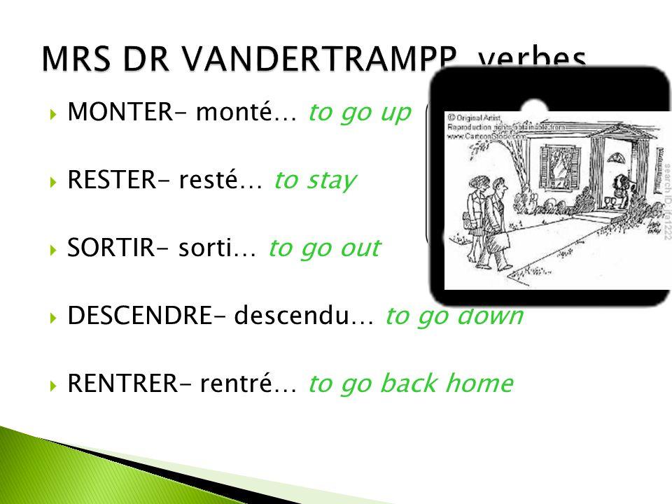 VENIR- venu…to come ARRIVER- arrivé…to arrive NAÎTRE- né…to be born DEVENIR- devenu… to become ENTRER- entré…to enter REVENIR- revenu…to come back TOMBER- tombé…to fall RETOURNER- retourné…to return ALLER-allé…to go MOURIR- mort… to die PARTIR- parti… to leave PASSER-passé… to pass by