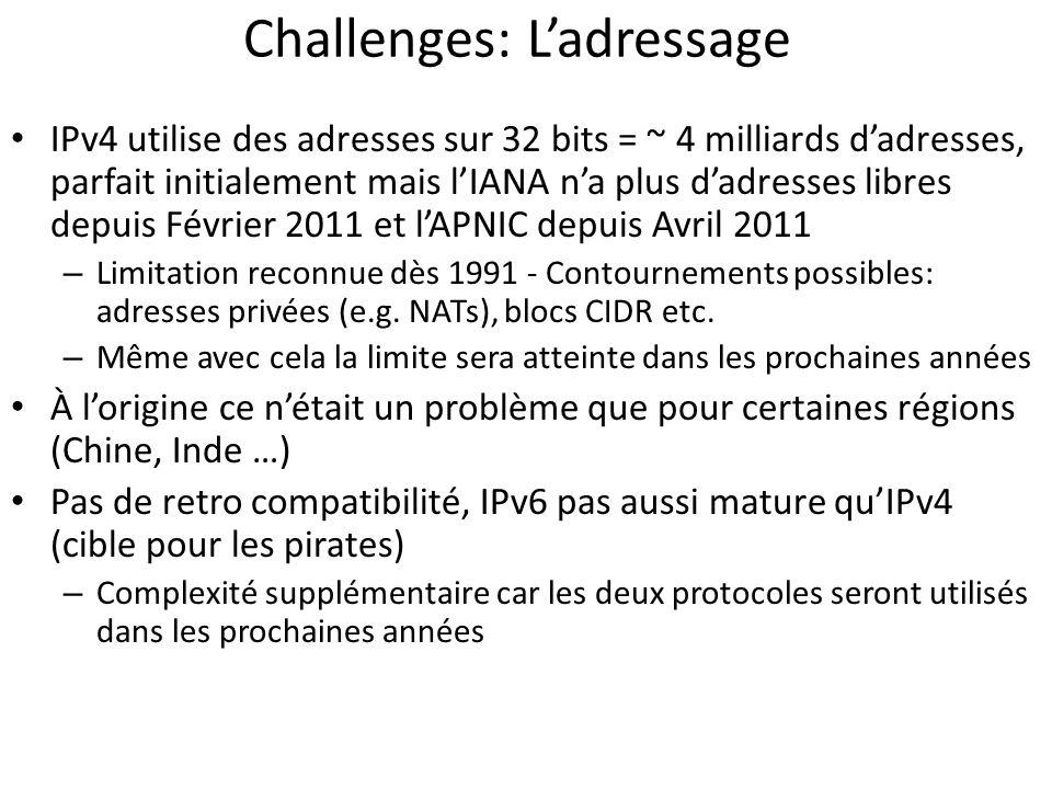 Challenges: Ladressage IPv4 utilise des adresses sur 32 bits = ~ 4 milliards dadresses, parfait initialement mais lIANA na plus dadresses libres depui