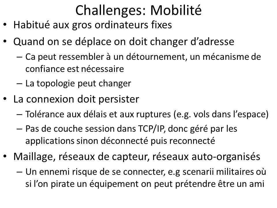Challenges: Mobilité Habitué aux gros ordinateurs fixes Quand on se déplace on doit changer dadresse – Ca peut ressembler à un détournement, un mécani