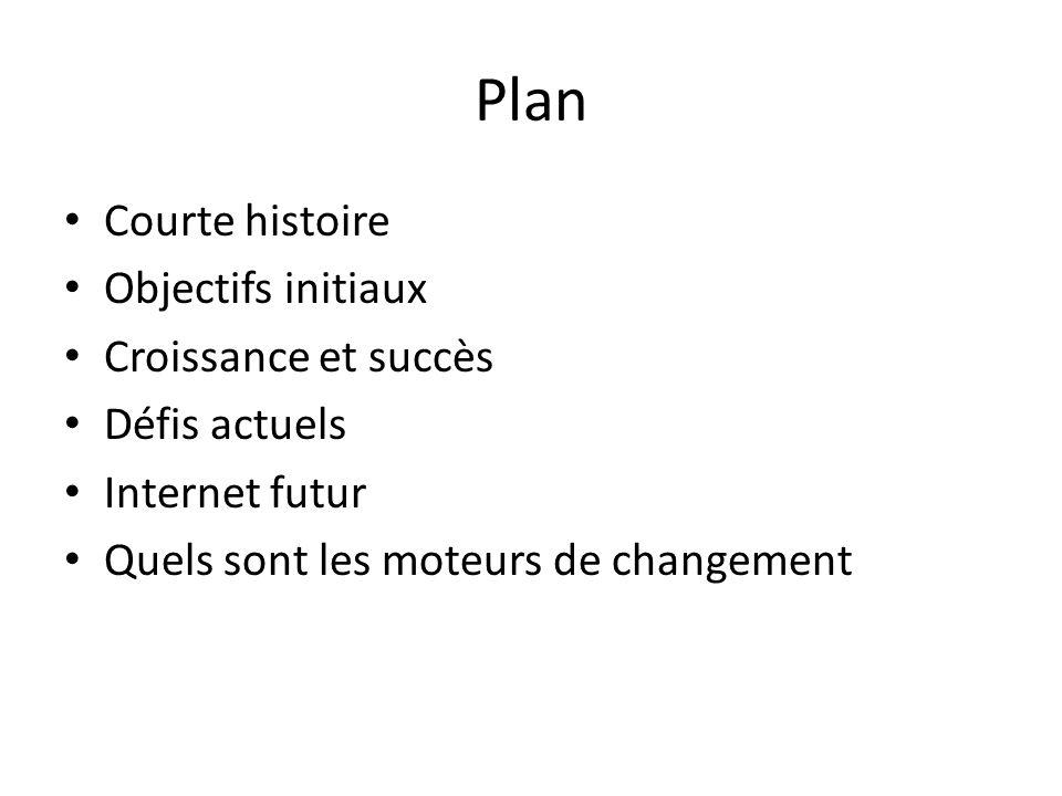 Plan Courte histoire Objectifs initiaux Croissance et succès Défis actuels Internet futur Quels sont les moteurs de changement