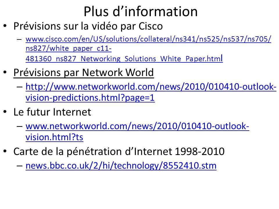 Plus dinformation Prévisions sur la vidéo par Cisco – www.cisco.com/en/US/solutions/collateral/ns341/ns525/ns537/ns705/ ns827/white_paper_c11- 481360_