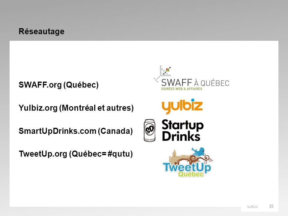 NURUN Réseautage SWAFF.org (Québec) Yulbiz.org (Montréal et autres) SmartUpDrinks.com (Canada) TweetUp.org (Québec= #qutu) 26