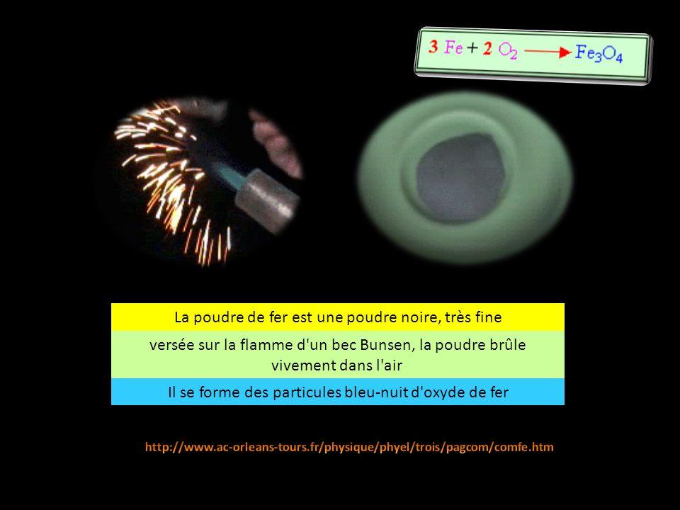 La poudre de cuivre est une poudre rouge versée sur la flamme d un bec Bunsen, la poudre brûle avec une flamme verte dans l air Il se forme une poudre noire d oxyde de cuivre