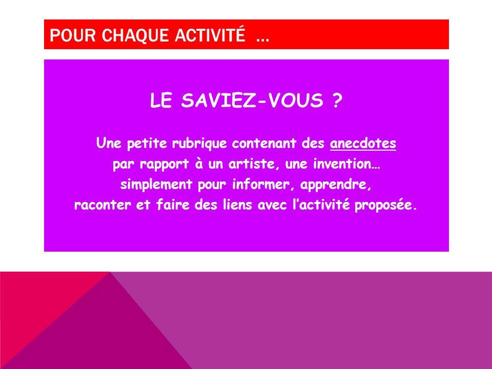POUR CHAQUE ACTIVITÉ … LE SAVIEZ-VOUS .