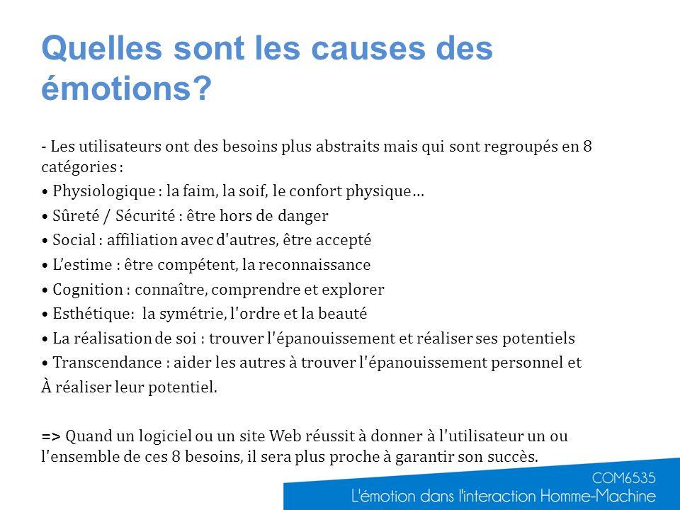 Quelles sont les causes des émotions? - Les utilisateurs ont des besoins plus abstraits mais qui sont regroupés en 8 catégories : Physiologique : la f