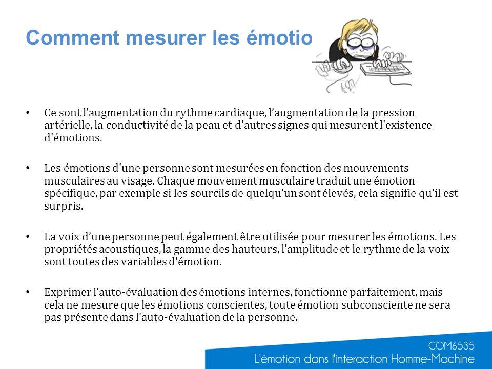 Comment mesurer les émotions? Ce sont laugmentation du rythme cardiaque, laugmentation de la pression artérielle, la conductivité de la peau et d'autr