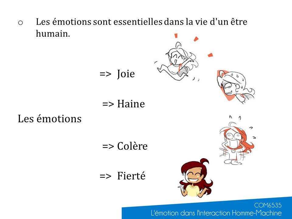 o Les émotions sont essentielles dans la vie d'un être humain. => Joie => Haine Les émotions => Colère => Fierté