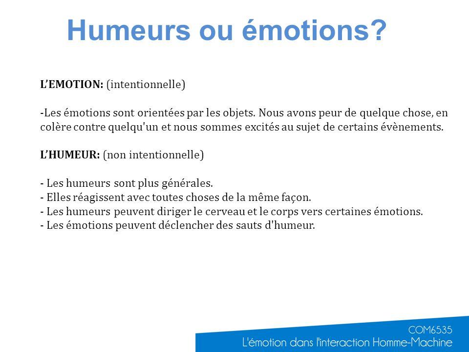 Humeurs ou émotions? LEMOTION: (intentionnelle) -Les émotions sont orientées par les objets. Nous avons peur de quelque chose, en colère contre quelqu