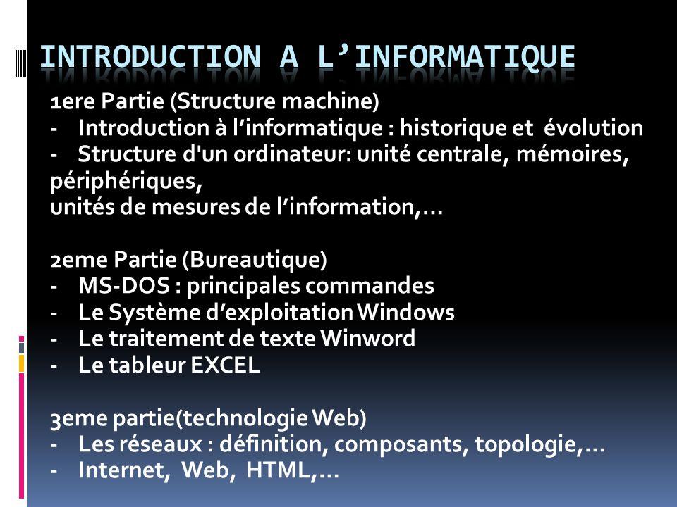 1ere Partie (Structure machine) - Introduction à linformatique : historique et évolution - Structure d'un ordinateur: unité centrale, mémoires, périph