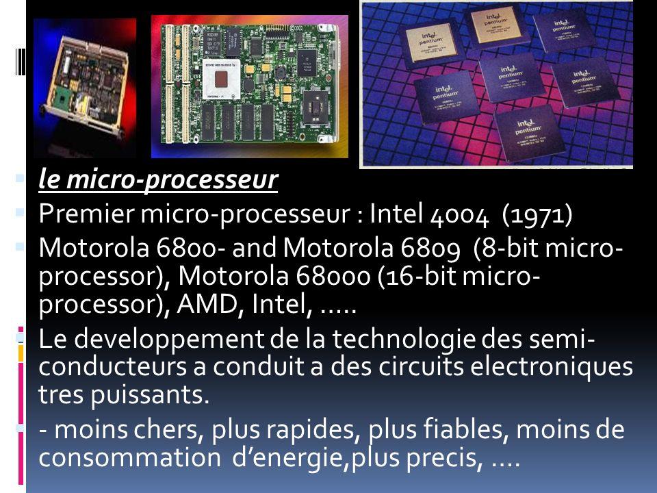 le micro-processeur Premier micro-processeur : Intel 4004 (1971) Motorola 6800- and Motorola 6809 (8-bit micro- processor), Motorola 68000 (16-bit mic