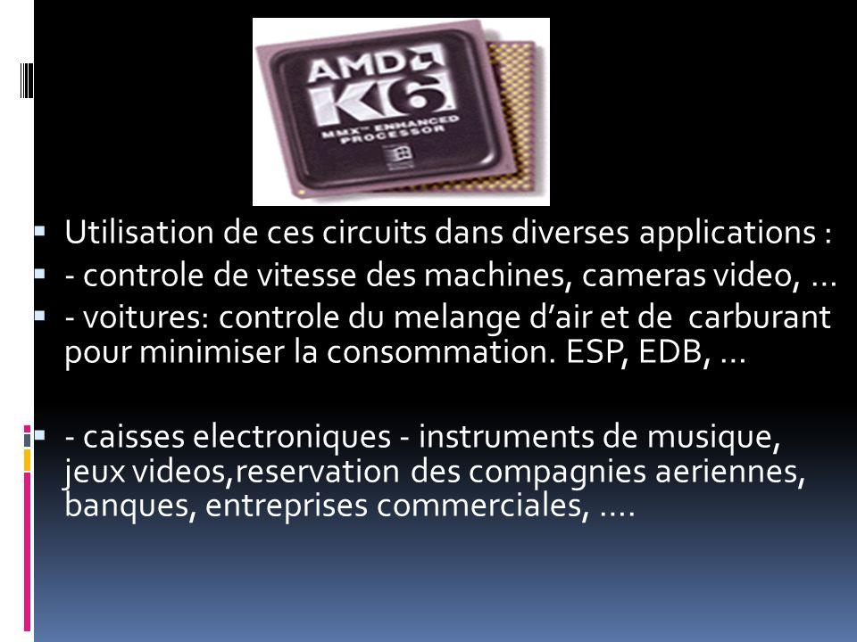 Utilisation de ces circuits dans diverses applications : - controle de vitesse des machines, cameras video, … - voitures: controle du melange dair et