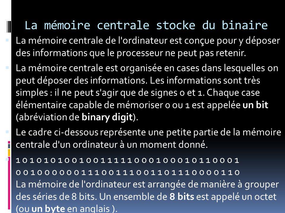 La mémoire centrale stocke du binaire La mémoire centrale de l'ordinateur est conçue pour y déposer des informations que le processeur ne peut pas ret