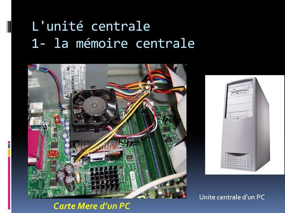 L'unité centrale 1- la mémoire centrale Carte Mere dun PC Unite centrale dun PC