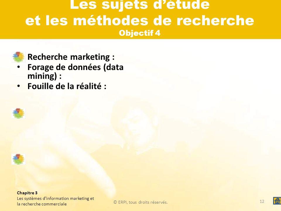 © ERPI, tous droits réservés. Chapitre 3 Les systèmes dinformation marketing et la recherche commerciale Les sujets détude et les méthodes de recherch