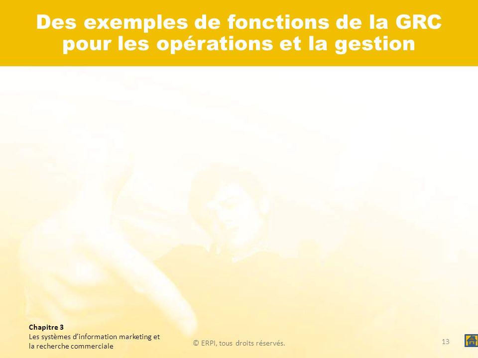 © ERPI, tous droits réservés. Chapitre 3 Les systèmes dinformation marketing et la recherche commerciale 13 Des exemples de fonctions de la GRC pour l