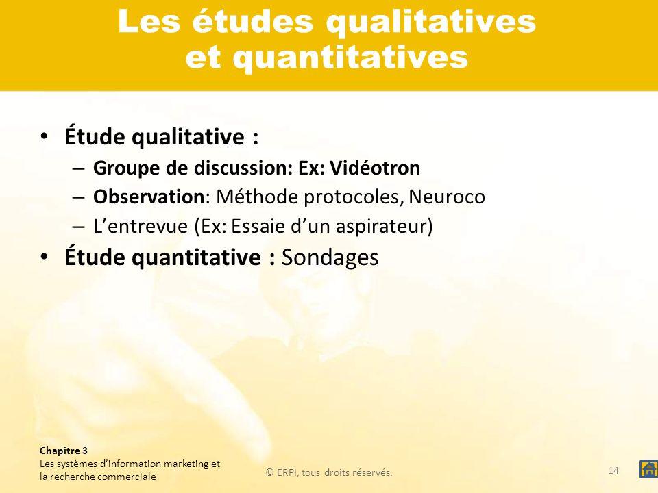 © ERPI, tous droits réservés. Chapitre 3 Les systèmes dinformation marketing et la recherche commerciale Les études qualitatives et quantitatives Étud
