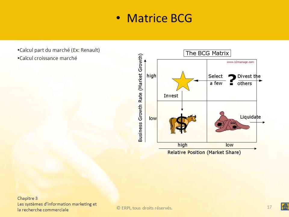 © ERPI, tous droits réservés. Matrice BCG Calcul part du marché (Ex: Renault) Calcul croissance marché Chapitre 3 Les systèmes dinformation marketing